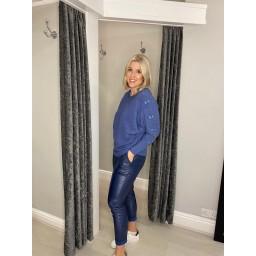 Lucy Cobb Blake Bow Sleeve Jumper in Denim Blue