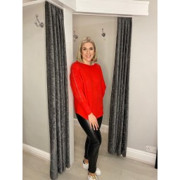 Lucy Cobb Blake Bow Sleeve Jumper in Red
