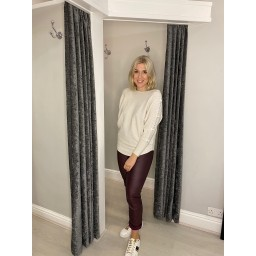 Lucy Cobb Blake Bow Sleeve Jumper in Stone