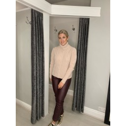 Lucy Cobb Casia Cable Knit Polo Jumper in Baby Pink