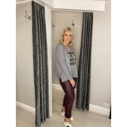 Lucy Cobb Meava Metallic Splash Jumper in Grey