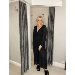 Lucy Cobb Pleated Two Way Jumpsuit in Black