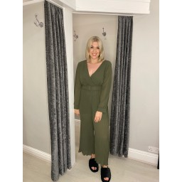 Lucy Cobb Pleated Two Way Jumpsuit in Khaki