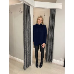 Lucy Cobb Carrie Chunky Roll Neck in Navy