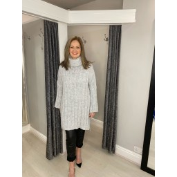 Lucy Cobb Crystal Chunky Knit Jumper Dress - Silver Grey