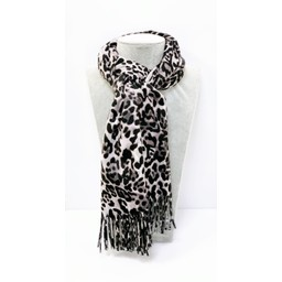 Lucy Cobb Accessories Libby Leopard Scarf in Grey Animal Print