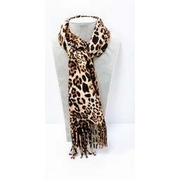 Lucy Cobb Accessories Libby Leopard Scarf in Stone Animal Print