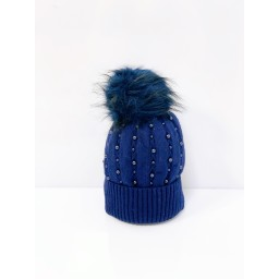 Lucy Cobb Accessories Poppie Pearl Bobble Hat  in Navy