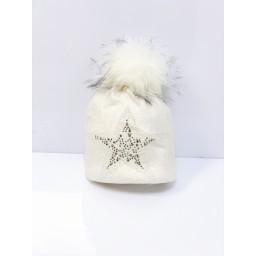 Lucy Cobb Accessories Sparkle Star Hat in Cream