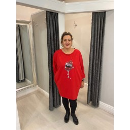 Lucy Cobb Festive Tunic  in Red