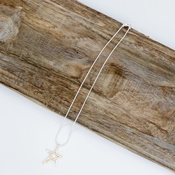 Lucy Cobb Jewellery Tia Two Tone Star Short Necklace - Silver Gold