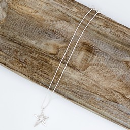 Lucy Cobb Jewellery Tia Two Tone Star Short Necklace - Silver Grey