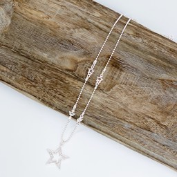 Lucy Cobb Jewellery Daisie Diamante Star Short Necklace  - Silver