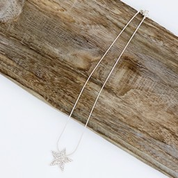 Lucy Cobb Jewellery Diamante Star Short Necklace - Silver