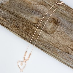 Lucy Cobb Jewellery Hollie Heart Short Necklace  in Rose Gold