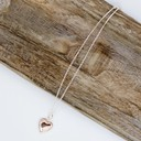 Hattie Heart Short Necklace - Silver/Rose Gold