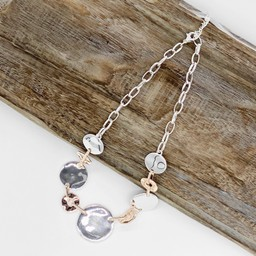 Lucy Cobb Jewellery Bailey Button Short Necklace  - Silver/Rose Gold