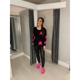Lucy Cobb Jupiter Star Jumper in Black & Pink