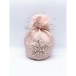 Lucy Cobb Accessories Sparkle Star Hat in Baby Pink