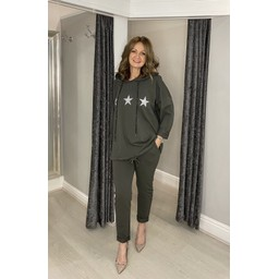 Lucy Cobb Diamante Star Hooded Loungewear Set in Khaki