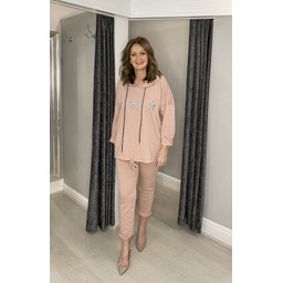 Lucy Cobb Diamante Star Hooded Loungewear Set - Baby Pink