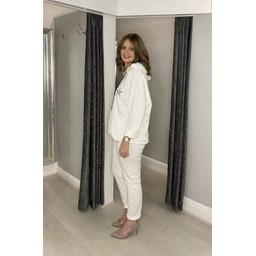 Lucy Cobb Diamante Star Hooded Loungewear Set - White