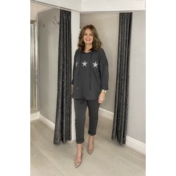 Lucy Cobb Diamante Star Hooded Loungewear Set - Charcoal