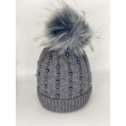 Lucy Cobb Accessories Poppie Pearl Bobble Hat  in Charcoal