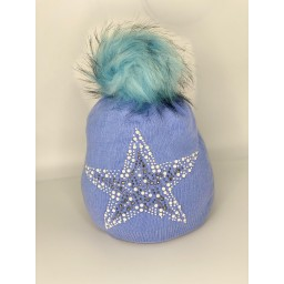 Lucy Cobb Accessories Sparkle Star Hat in Baby Blue