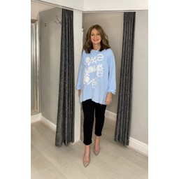 Lucy Cobb Love Star Hoodie - Baby Blue