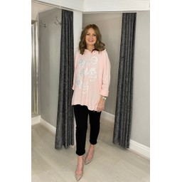 Lucy Cobb Love Star Hoodie in Baby Pink