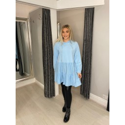 Lucy Cobb Hope Hooded Tiered Tunic - Baby Blue