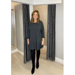 Lucy Cobb Felicity Frill Hem Tunic in Charcoal