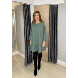 Lucy Cobb Felicity Frill Hem Tunic in Sage