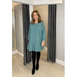 Lucy Cobb Felicity Frill Hem Tunic in Soft Green