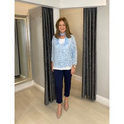 Lucy Cobb Leah Leopard Scarf Top in Baby Blue