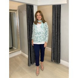 Lucy Cobb Leah Leopard Scarf Top in Mint