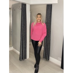 Lucy Cobb Raven Ribbed Roll neck in Fuchsia