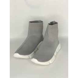 Lucy Cobb Footwear High Top Sock Trainers in Silver Grey