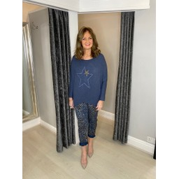Lucy Cobb Alpha Star Top in Denim Blue