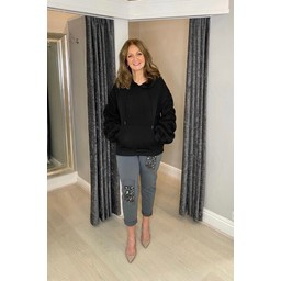 Lucy Cobb Ruched Sleeve Hoodie in Black
