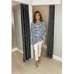 Lucy Cobb Zebra Oversized Cowl Neck Top in Baby Blue