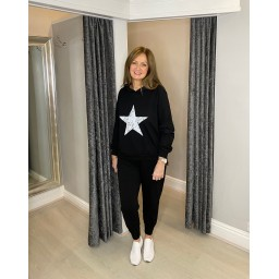 Lucy Cobb Saturn Star Loungewear Set in Black