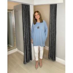 Lucy Cobb Sirus Star Tunic in Light Denim Blue