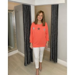 Lucy Cobb Sirus Star Sweatshirt in Coral