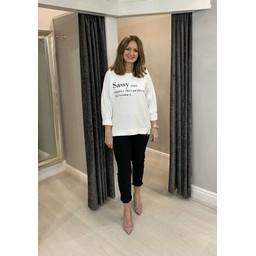 Lucy Cobb Sassy Zip Sweatshirt in White