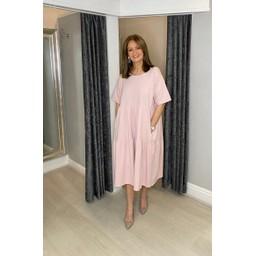 Lucy Cobb Sallie Sweatshirt Smock Dress - Baby Pink