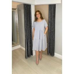 Lucy Cobb Sallie Sweatshirt Smock Dress - Silver Grey