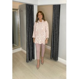 Lucy Cobb Poppie Polka Dot Top in Baby Pink