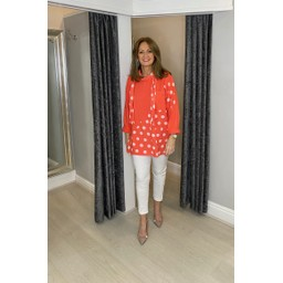 Lucy Cobb Poppie Polka Dot Top in Coral